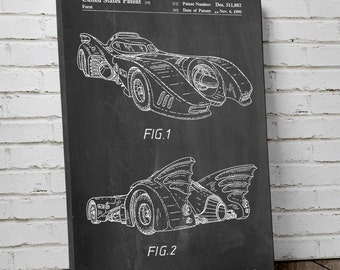 Batmobile 1990 Canvas Patent Art Print, Batman Car, Batman Poster, Batman Art, Canvas Print, PP0251