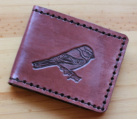 Blue tit bird wallet hand carved leather by tinasleathercrafts