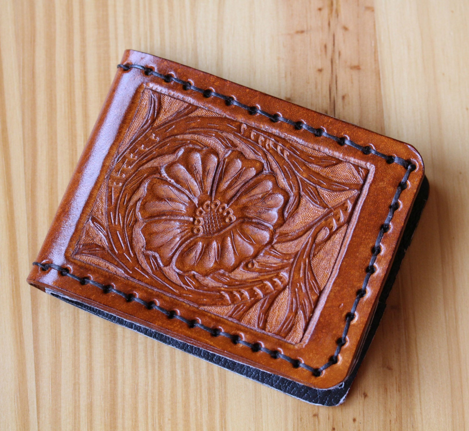 Sheridan style hand carved leather wallet by