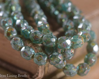 NEW! Tranquil Aqua Mamas (25) - Czech Glass Bead- 6mm - Faceted Round