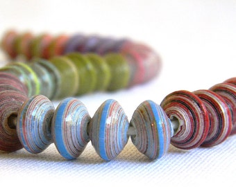 Paper Bead Jewelry Supplies - Paper Beads - Earring Strand - Hand painted - Lot of 32 - #B201