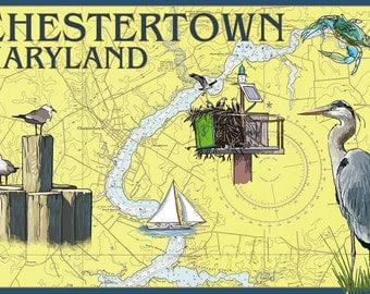 Chestertown, Maryland - Nautical Chart (Art Prints available in multiple sizes)