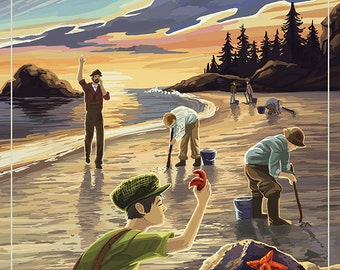 Oregon Coast - Clam Diggers (Art Prints available in multiple sizes)