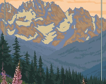 Bear and Cubs with Flowers - Glacier National Park, Montana (Art Prints available in multiple sizes)