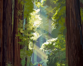 Muir Woods National Monument, California - Pathway (Art Prints available in multiple sizes)
