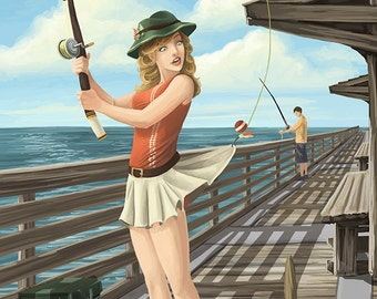 Pismo Beach, California - Fishing Pinup Girl (Art Prints available in multiple sizes)