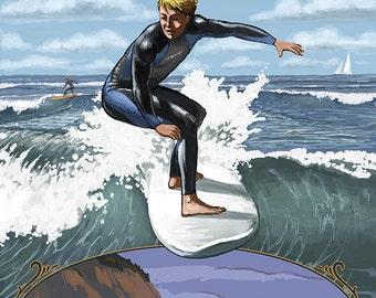 Surfer Scene - Neskowin, Oregon (Art Prints available in multiple sizes)
