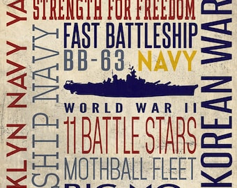 USS Missouri - Typography (Art Prints available in multiple sizes)