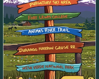 Durango, Colorado - Signpost (Art Prints available in multiple sizes)