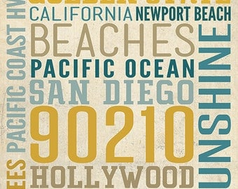 Southern California - Typography (Art Prints available in multiple sizes)