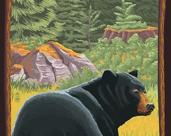 Wrightwood, California - Black Bear in Forest (Art Prints available in multiple sizes)
