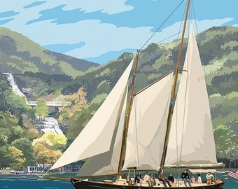 Canandaigua, New York - Sailboat (Art Prints available in multiple sizes)