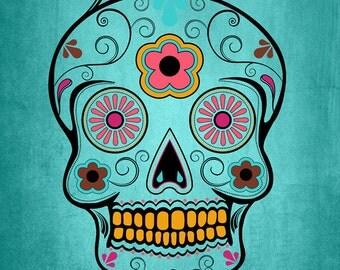 Salem, Massachusetts - Sugar Skull (Aqua Background) (Art Prints available in multiple sizes)