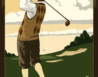 Vernon, New Jersey - Ballyowen Golf Club - Golfer (Art Prints available in multiple sizes)