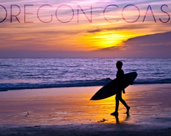 Oregon Coast - Surfer and Sunset (Art Prints available in multiple sizes)