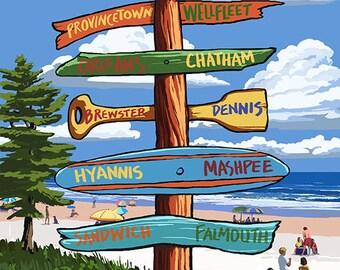 Cape Cod, Massachusetts - Destination Signpost (Art Prints available in multiple sizes)