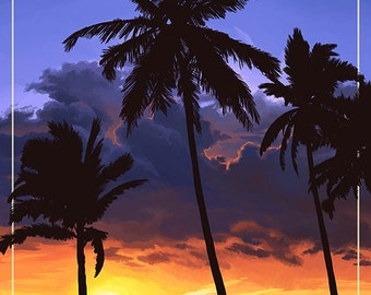 Santa Barbara, California - Palms and Sunset (Art Prints available in multiple sizes)