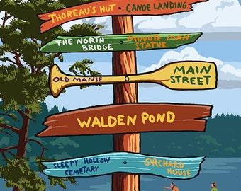 Concord, Massachusetts - Destination Signpost (Art Prints available in multiple sizes)