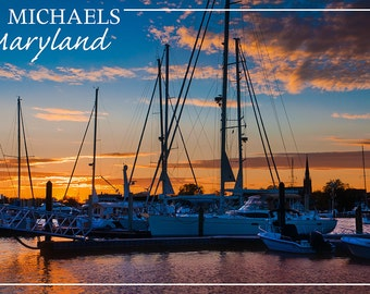 St. Michaels, Maryland - Boats at Sunset (Art Prints available in multiple sizes)