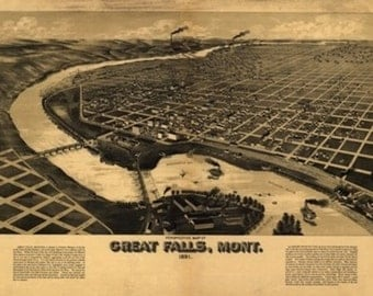 Great Falls, MT Panoramic Map - 1891 (Art Prints available in multiple sizes)