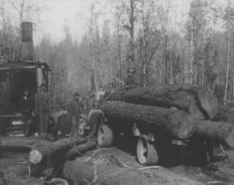 Lumberjacks and Logging Trucks in Cascades Photograph (Art Prints available in multiple sizes)