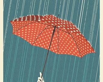 Olympia, Washington - Umbrella - Letterpress (Art Prints available in multiple sizes)