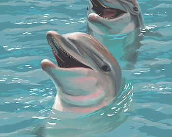 Emerald Isle, North Carolina - Dolphins Swimming (Art Prints available in multiple sizes)