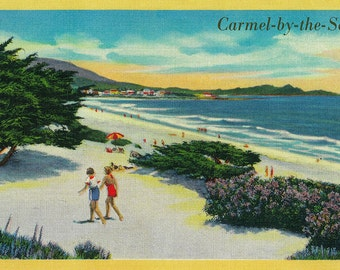Carmel-by-the-Sea, California - View of the Beach (Art Prints available in multiple sizes)