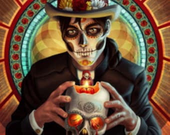 Day of the Dead - Man and Candle (Art Prints available in multiple sizes)
