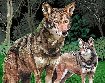 Red Wolves (Art Prints available in multiple sizes)