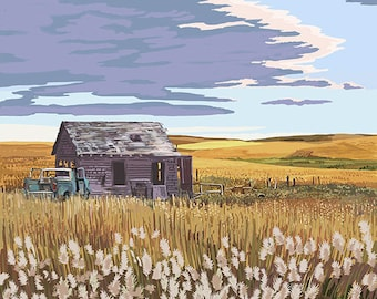 Kansas - Wheat Fields and Homestead (Art Prints available in multiple sizes)