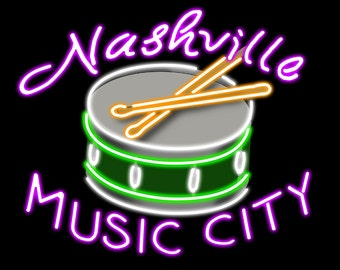 Nashville, Tennesse - Neon Drum Sign (Art Prints available in multiple sizes)