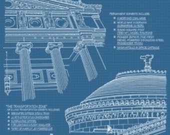 Museum of Science and Industry Blueprint - Chicago, IL (Art Prints available in multiple sizes)