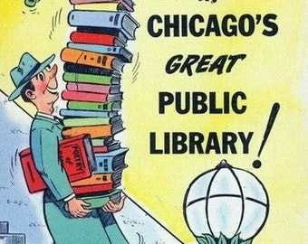 Chicago, Illinois - Man Leaving from Chicago Public Library with Lots of Books (Art Prints available in multiple sizes)