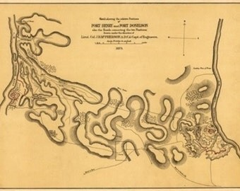 Battle of Fort Henry - Civil War Panoramic Map (Art Prints available in multiple sizes)