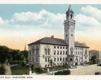 Worcester, Massachusetts - Exterior View of City Hall (Art Prints available in multiple sizes)