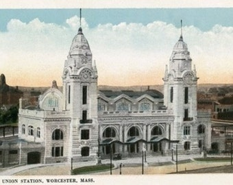 Worcester, Massachusetts - Exterior View of Union Station (Art Prints available in multiple sizes)