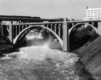 Spokane, Washington - Aerial View of Spokane Falls and Monroe St Bridge (Art Prints available in multiple sizes)