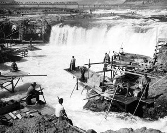 Men fishing at Celilo Falls Photograph (Art Prints available in multiple sizes)