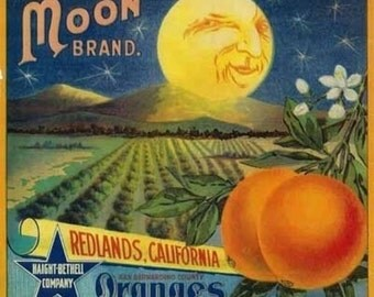Moon Orange Label (Art Prints available in multiple sizes)