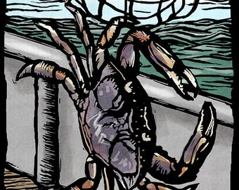 Fidalgo Island, Washington - Dungeness Crab - Scratchboard (Art Prints available in multiple sizes)