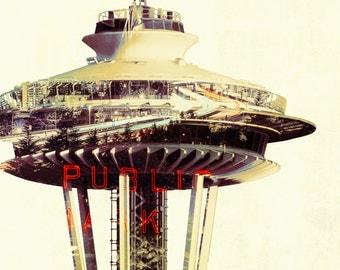Space Needle - Double Exposure - Seattle, Washington (Art Prints available in multiple sizes)