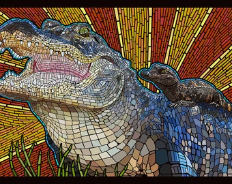 Alligator - Paper Mosaic (Art Prints available in multiple sizes)