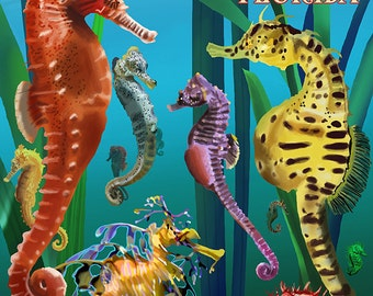 Key West, Florida - Seahorses (Art Prints available in multiple sizes)