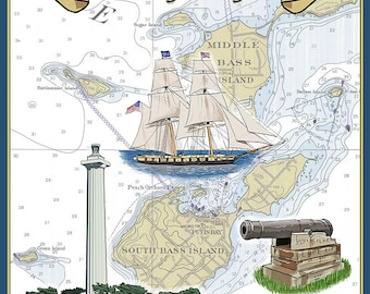 Put-In-Lake, Ohio - Battle of Lake Erie Nautical Chart (Art Prints available in multiple sizes)