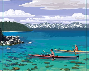 Lake Tahoe - Kayakers in Secret Cove (Art Prints available in multiple sizes)