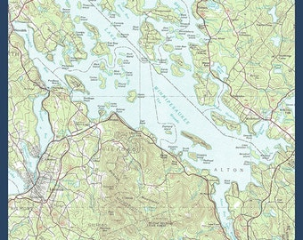 Lake Winnipesaukee, New Hampshire - Map Only (Art Prints available in multiple sizes)