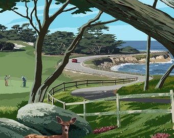 Monterey Peninsula, California - 17 Mile Drive (Art Prints available in multiple sizes)