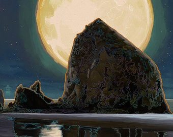 Cannon Beach, Oregon - Haystack Rock and Full Moon (Art Prints available in multiple sizes)
