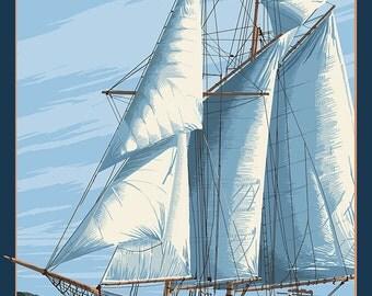 Sailboat Scene (Art Prints available in multiple sizes)